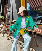 Стильная женская удлинённая рубашка oversize из льна