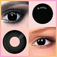Цветные линзы для глаз Черные Контейнер в Подарок Линзы цветные черные без диоптрий Черные косметические линзы
