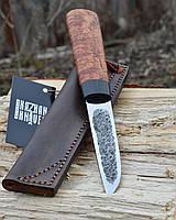 Якутский нож ручной работы с рукоятью из капа клёна, больстер из мореного дуба