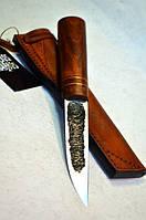 Якутский нож ручной работы с рукоятью из капа клёна, кожи и латуни