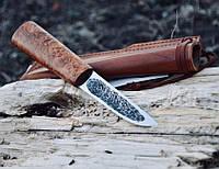 Якутский нож ручной работы с рукоятью из берёзового капа