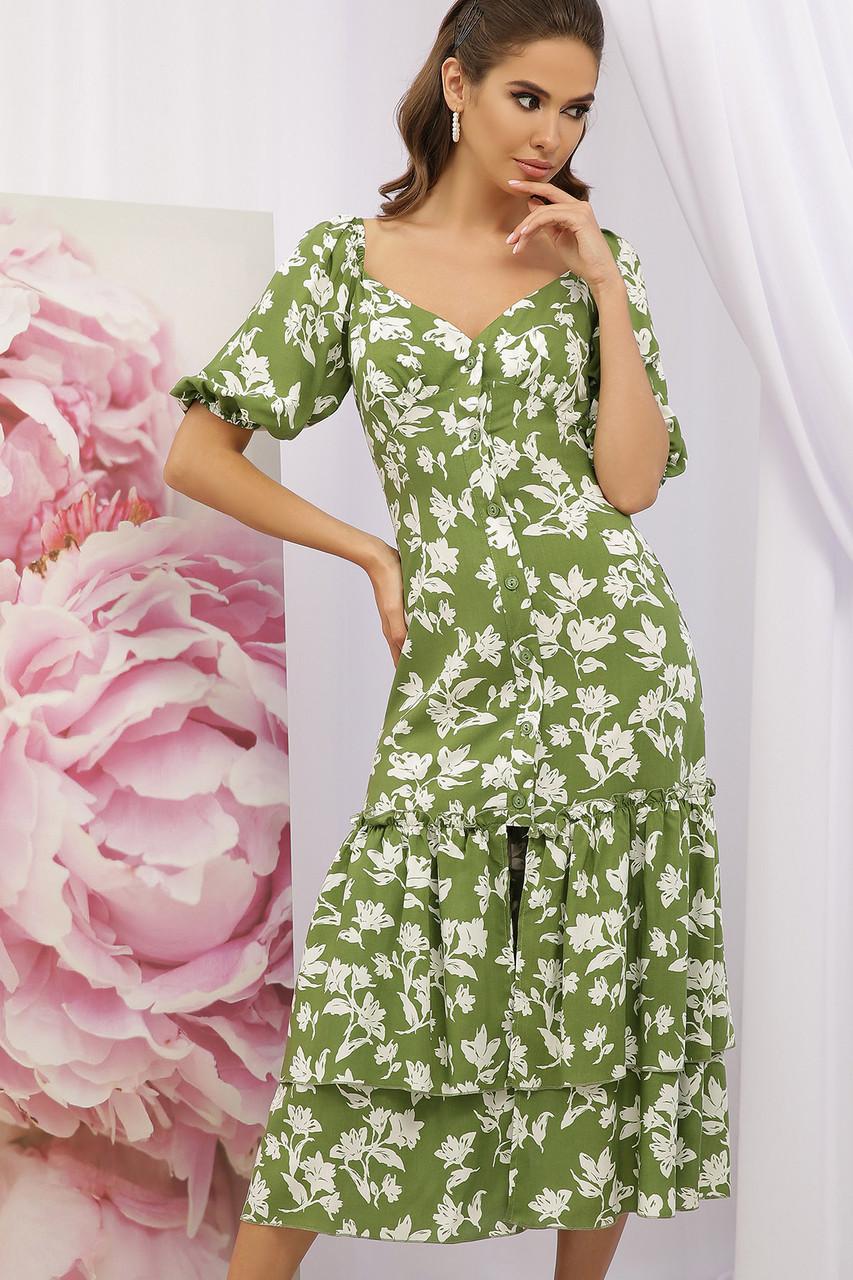 Зеленое платье с цветами на пуговицах