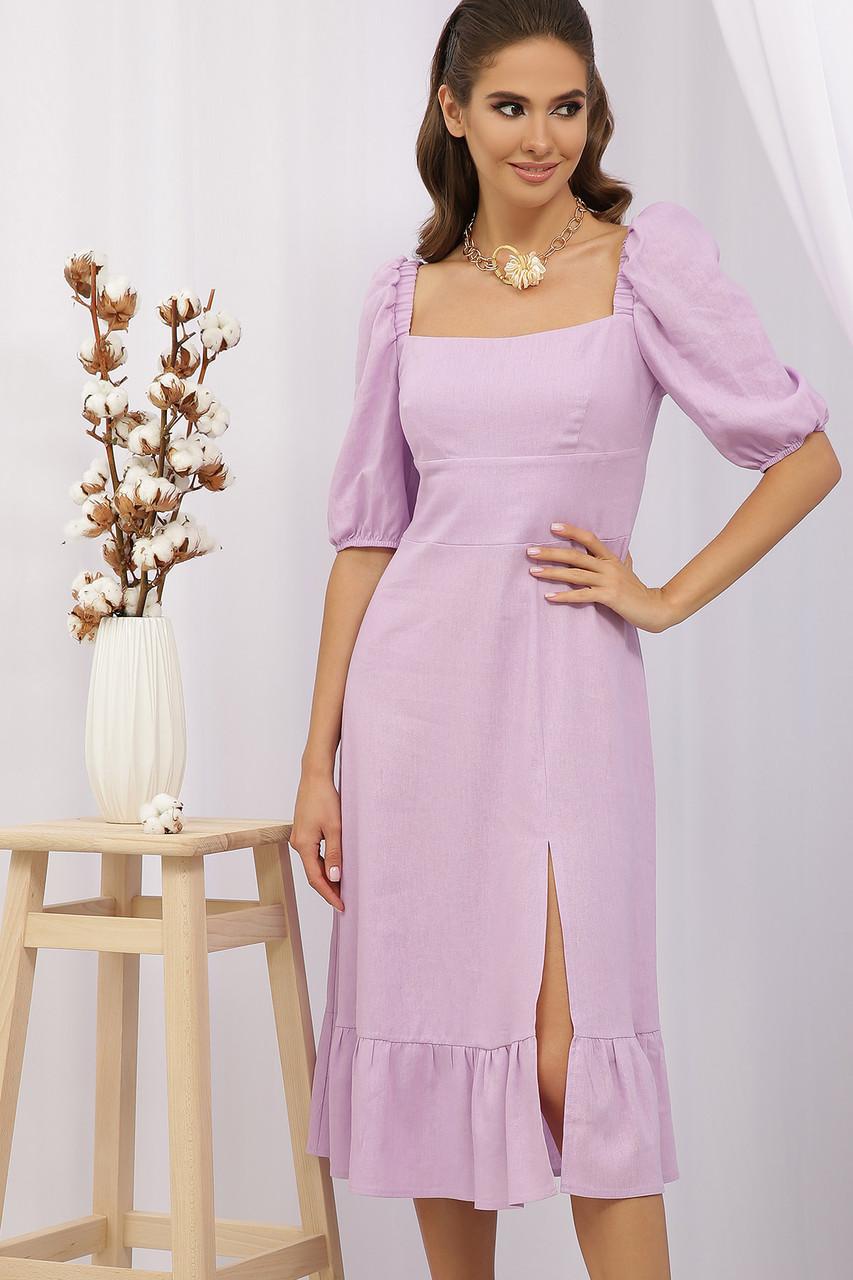 Лавандовое летнее платье изо льна