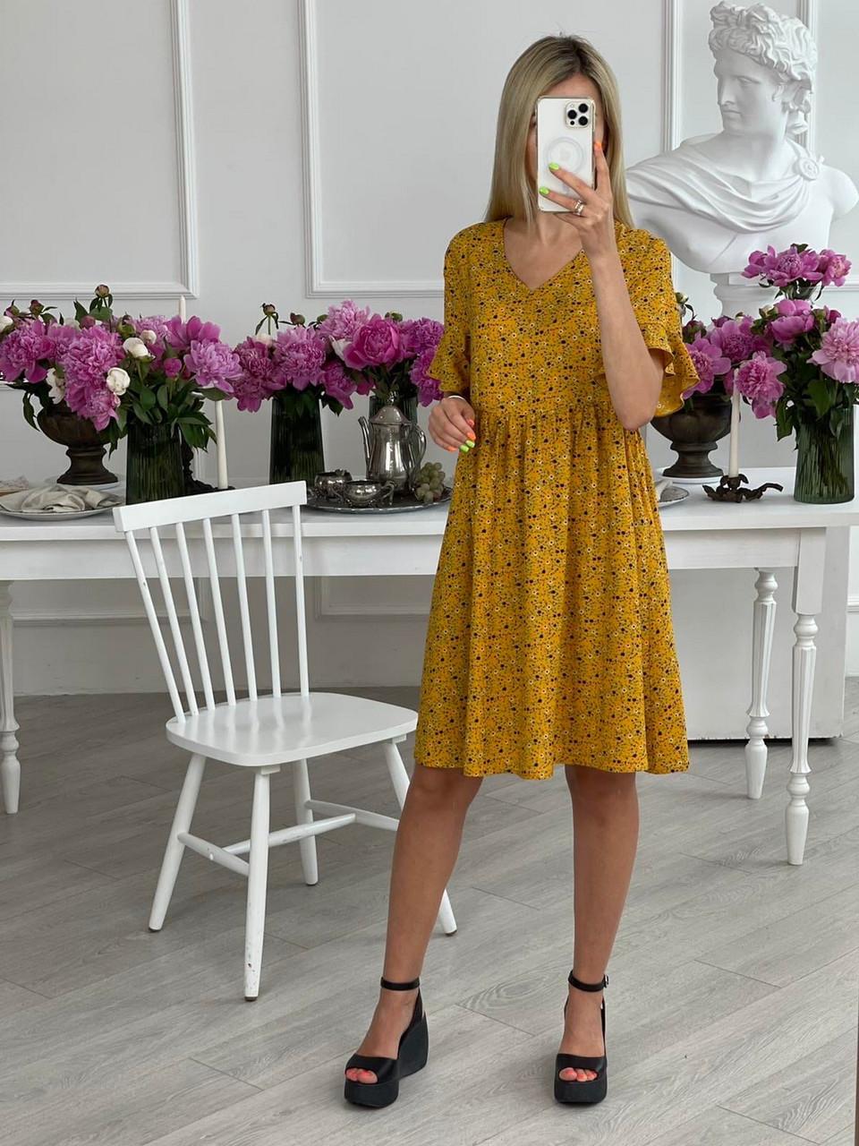 Женское платье до колен, цветочный принт, из штапеля с рукавом до локтя, 01022 (Горчичный), Размер 42 (S)