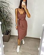 Легке літнє плаття на запах завдовжки нижче колін, 01029 (Пудровий), Розмір 42 (S), фото 2