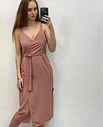 Легке літнє плаття на запах завдовжки нижче колін, 01029 (Пудровий), Розмір 42 (S), фото 4