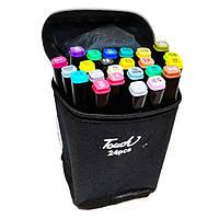 Набор маркеров для скетчинга 24шт Touch. Двухсторонние маркеры на спиртовой основе. Скетч-маркеры