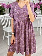 Практичне жіноче плаття з квітковим принтом завдовжки до колін, кишені в бічних швах, 01026 (Фіолетовий),, фото 2