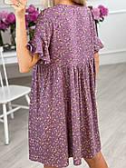 Практичне жіноче плаття з квітковим принтом завдовжки до колін, кишені в бічних швах, 01026 (Фіолетовий),, фото 3