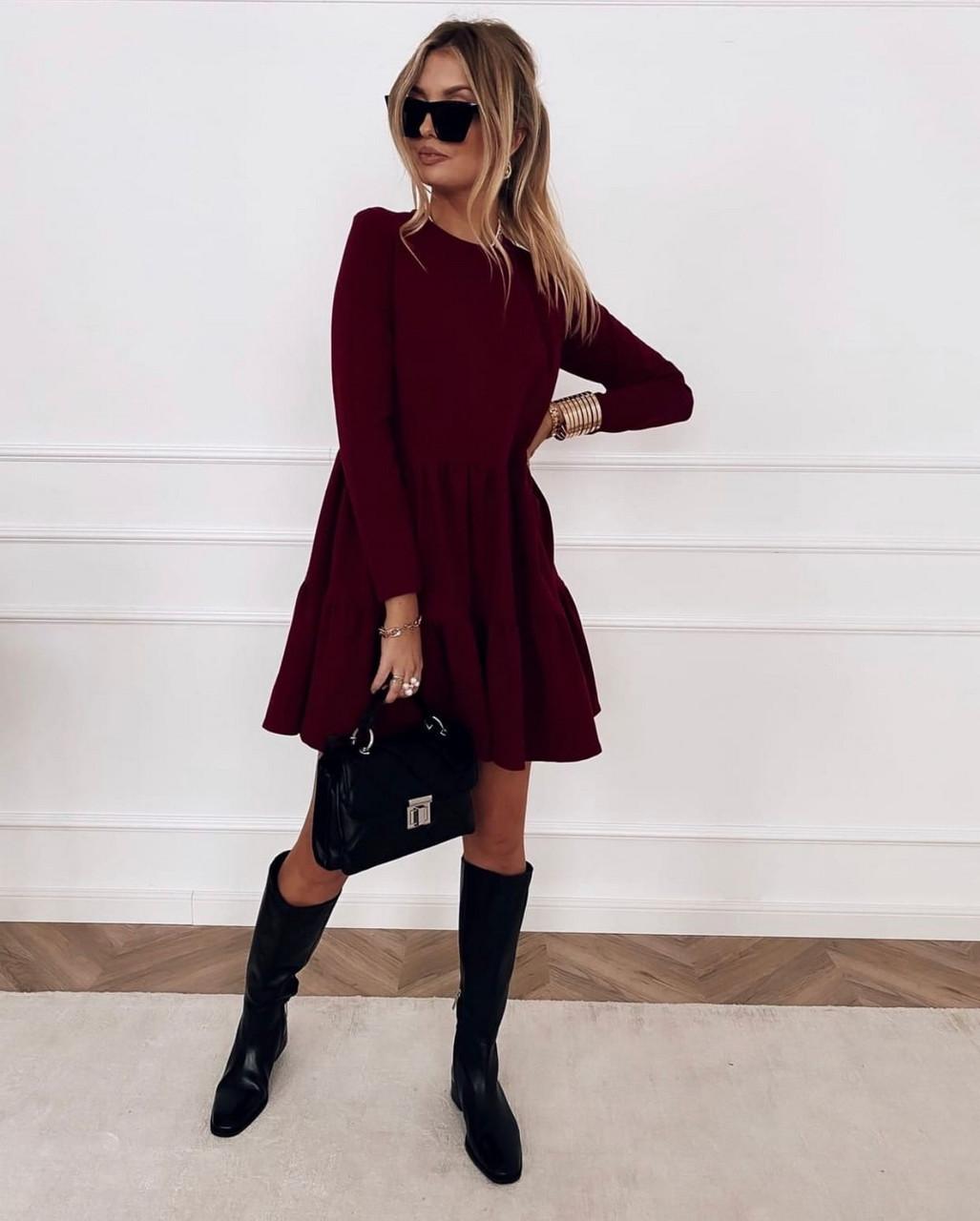Практичне модне плаття з оборками з довгим рукавом, 01034 (Марсала), Розмір 42 (S)