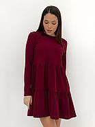 Практичне модне плаття з оборками з довгим рукавом, 01034 (Марсала), Розмір 42 (S), фото 2