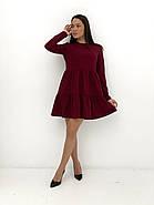 Практичне модне плаття з оборками з довгим рукавом, 01034 (Марсала), Розмір 42 (S), фото 4