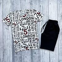 Футболка + шорти чоловічий комплект. Літній костюм шорти + футболка з модним принтом.