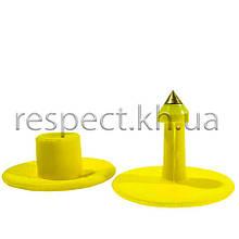 Вушна бирка (кліпса) кругла 30 мм жовта (БРК-15)