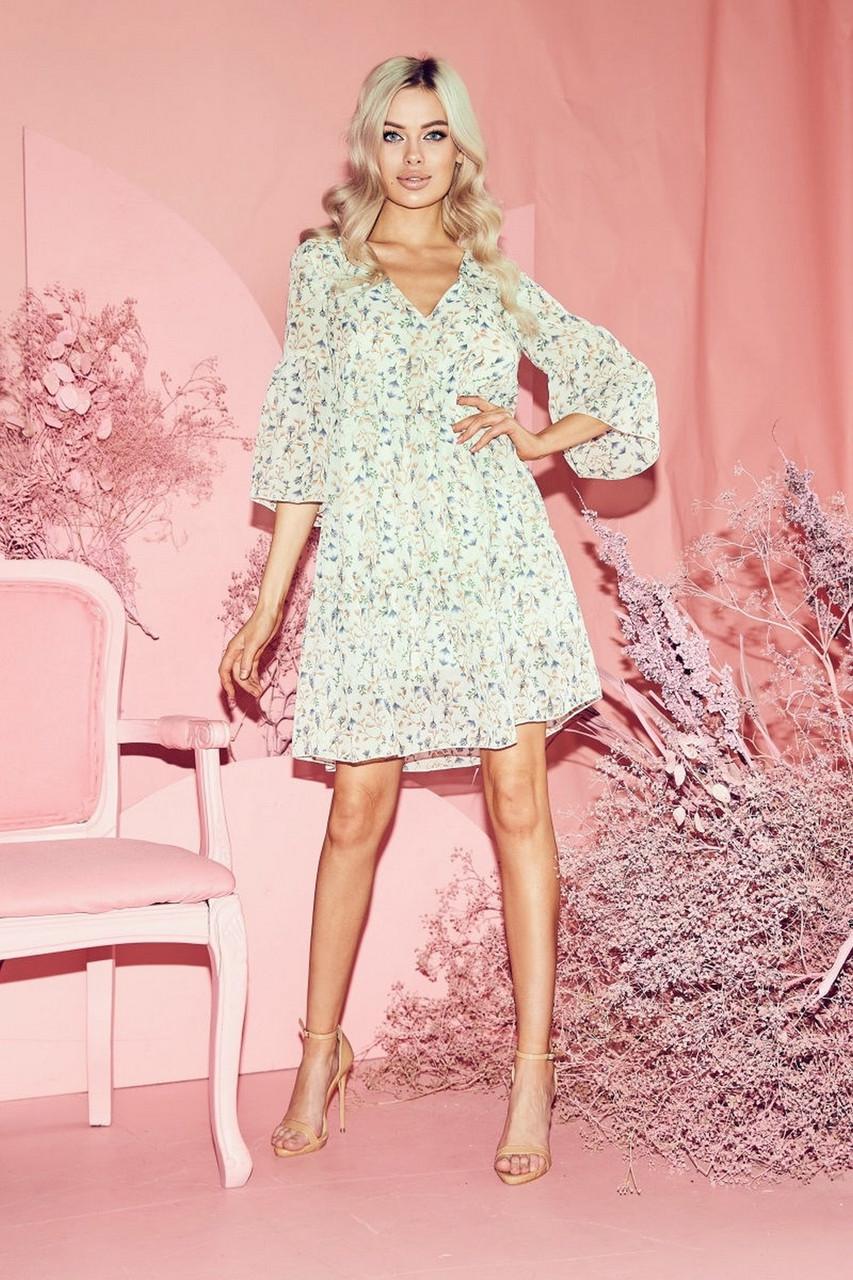 Сукня жіноча шифонова вільного крою, рукав три чверті, 01035 (Молочний), Розмір 42 (S)