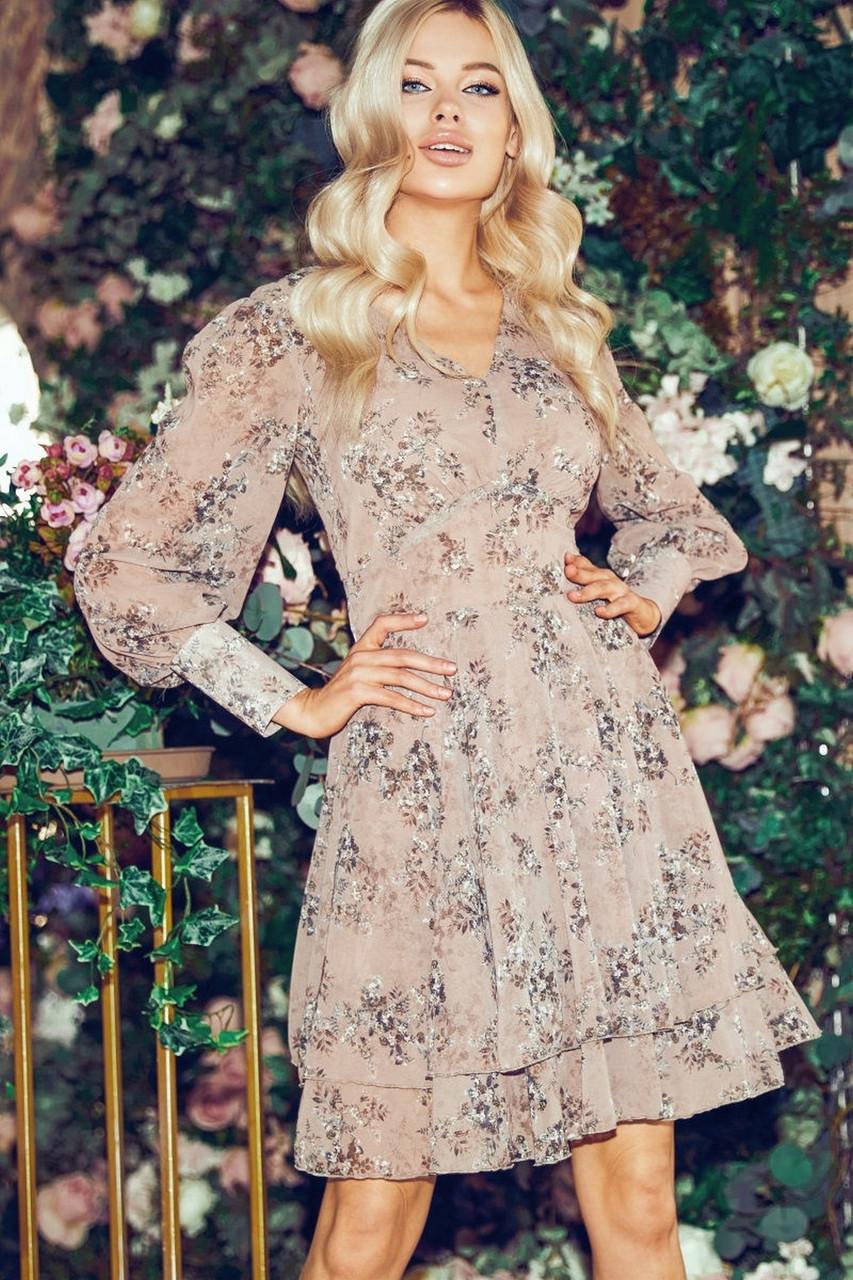 Женское легкое шифоновое платье с длинным рукавом в цветочный принт, 01040 (Бежевый), Размер 42 (S)