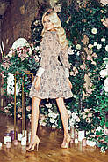 Женское легкое шифоновое платье с длинным рукавом в цветочный принт, 01040 (Бежевый), Размер 42 (S), фото 3