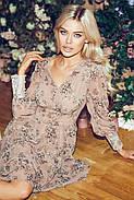 Женское легкое шифоновое платье с длинным рукавом в цветочный принт, 01040 (Бежевый), Размер 42 (S), фото 4