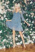 Шифонове плаття з квітковим принтом, довжиною до колін, 01037 (Темно-зелений), Розмір 42 (S), фото 2