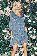 Шифонове плаття з квітковим принтом, довжиною до колін, 01037 (Темно-зелений), Розмір 42 (S), фото 4