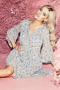 Повітряне шифонове плаття, з V-подібним вирізом на грудях, рукав три чверті, 01038 (Блакитний), Розмір 42 (S), фото 2