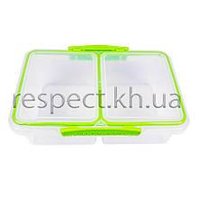 Контейнер для продуктів прямокутний 1 л подвійний (з прокладкою)