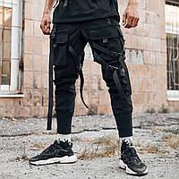 Штаны с карманами карго мужские Gata Штаны для подростка черные