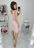 Платье из прошвы на подкладке длиною до колен на бретельках с рюшами, 01041 (Пудра), Размер 42 (S), фото 4