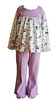 Піжама для дівчинки з довгим рукавом ТМ Бембі 132411 бузковий з білим 110