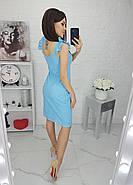 Летнее женское платье из прошвы на подкладке, длиною до колен, 01043 (Голубой), Размер 44 (M), фото 2