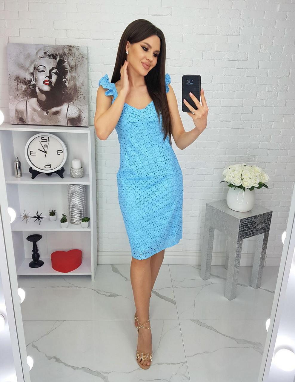 Летнее женское платье из прошвы на подкладке, длиною до колен, 01043 (Голубой), Размер 42 (S)
