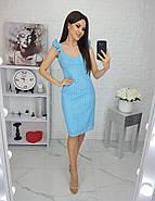 Летнее женское платье из прошвы на подкладке, длиною до колен, 01043 (Голубой), Размер 42 (S), фото 4