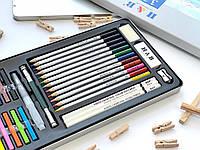 Набор акварельных карандашей и пастельных мелков в металлическом пенале Art Planet