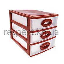 Міні комод пластиковий на 3 ящики / секції (кавовий)