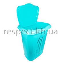 Пластиковий кошик для білизни з кришкою на 40 л (бірюзова)