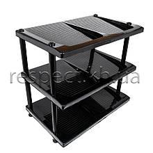 Пластикова підставка / полиця для взуття на 3 яруси (чорна)