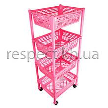 Етажерка пластикова прямокутна на коліщатках (рожева)