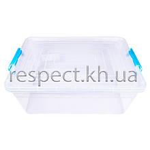 Пластиковый контейнер для продуктов прямоугольный 18 л на защелках