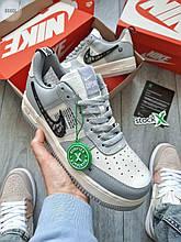 Жіночі кросівки Nike Air Force 1 Low x Dior (білі з сірим) стильна взуття весняного сезону 666GL
