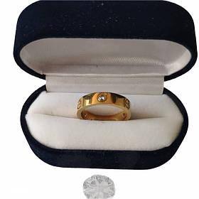 Кольцо Картье Cartier 10S, Love, 3 камня, Желтое Золото