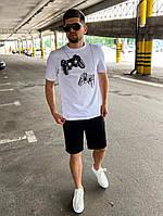 Мужской черно-белый комплект футболка и шорты на лето