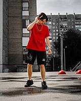Мужской спортивный комплект красный с черным (футболка и шорты)