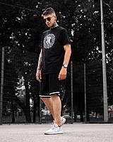 Мужской спортивный комплект Chrolo + Hanta черный на лето (футболка и шорты)