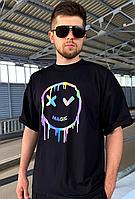Модная мужская футболка оверсайз повседневная с рефлективным принтом, трикотажная черная