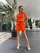 Стильний комбінезон жіночий шортами, на ґудзиках з коротким рукавом, 01046 (Помаранчевий), Розмір 44 (M), фото 2