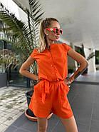 Стильний комбінезон жіночий шортами, на ґудзиках з коротким рукавом, 01046 (Помаранчевий), Розмір 44 (M), фото 6
