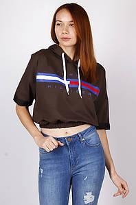 Батник женский с коротким рукавом коричневый AAA 122601P