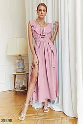 Легке плаття максі з воланом рожеве