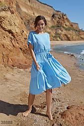 Вільне плаття трапеція довжини міді з поясом блакитне