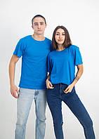 Темно-голубая (морская волна) однотонная футболка (Цвета и размеры в ассортименте)